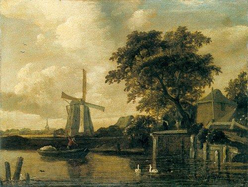 Meindert Hobbema Windmill at the Riverside