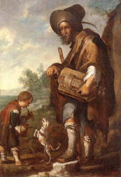 unknow artist A Blind man playing a hurdy-gurdy,together with a young boy playing the drums,with a dancing dog