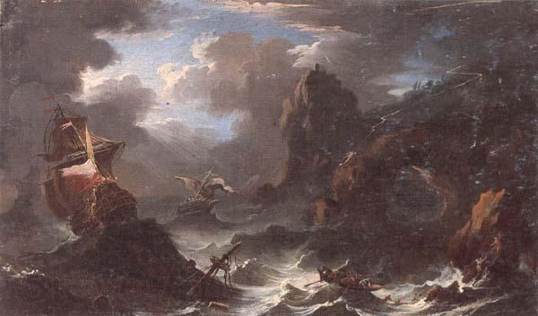unknow artist A coastal landscape with shipping in a storm,figures shipwrecked in the foreground