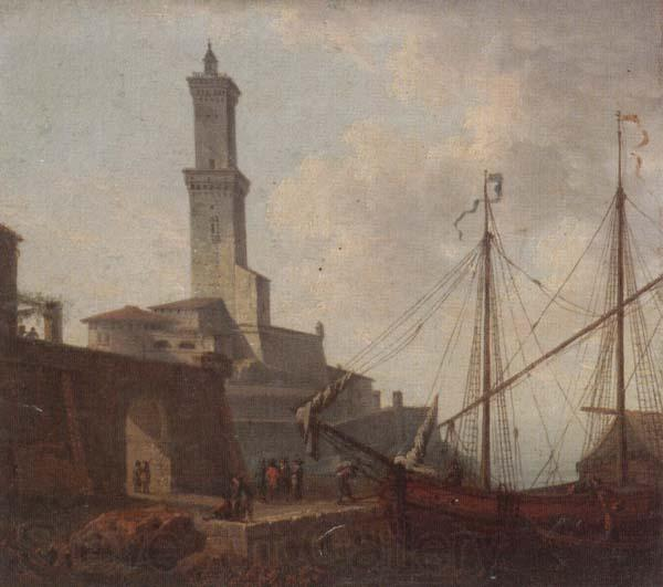 unknow artist A Port scene with figures loading a boat