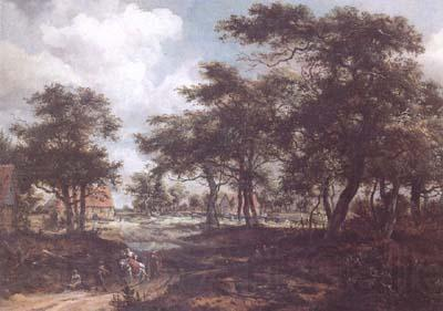 Meindert Hobbema Wooded Landscape with Travellers (mk25)