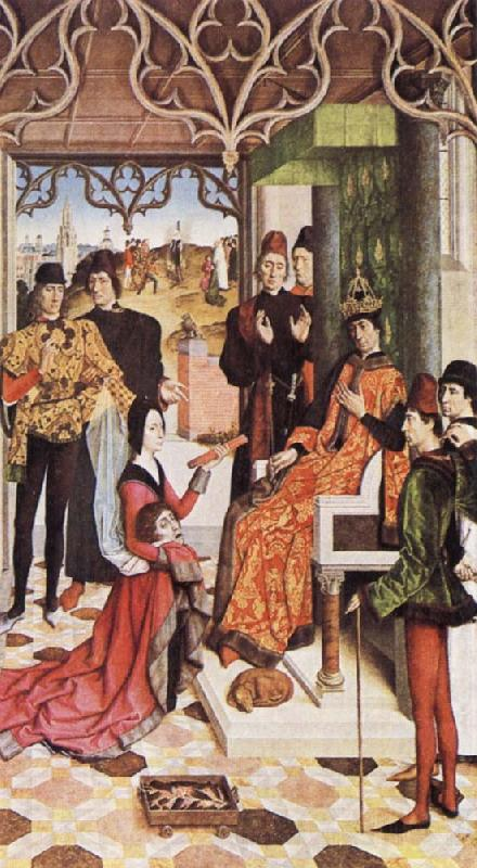 Dieric Bouts The Empress's Ordeal by Fire in front of Emperor Otto III